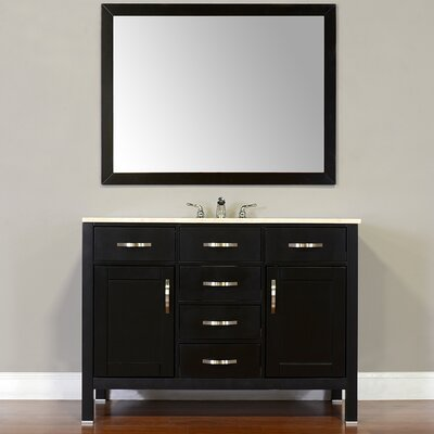 Hudson 48 Single Contemporary Bathroom Vanity Set Top Finish: Beige, Base Finish: Black