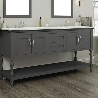 Hampton 60 Double Contemporary Bathroom Vanity Set Base Finish: White, Top Finish: Beige