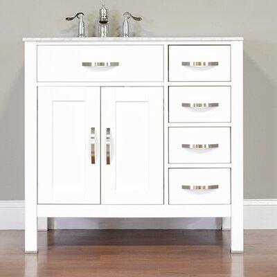 Hudson 36 Single Contemporary Bathroom Vanity Set Base Finish: White, Top Finish: Carrera White
