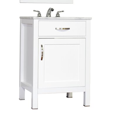 Hudson 24 Single Contemporary Bathroom Vanity Set Base Finish: White, Top Finish: Beige