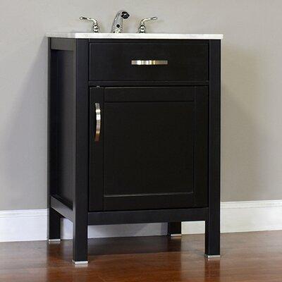 Hudson 24 Single Contemporary Bathroom Vanity Set Top Finish: Beige, Base Finish: Black