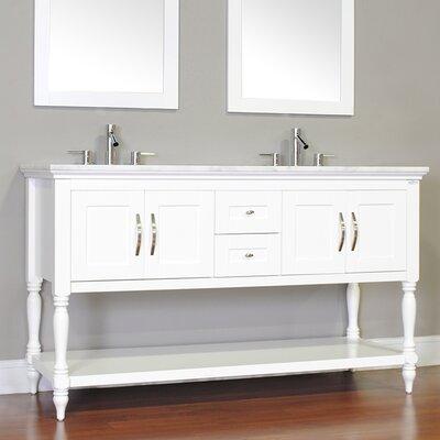 Hampton 72 Double Contemporary Bathroom Vanity Set Base Finish: White