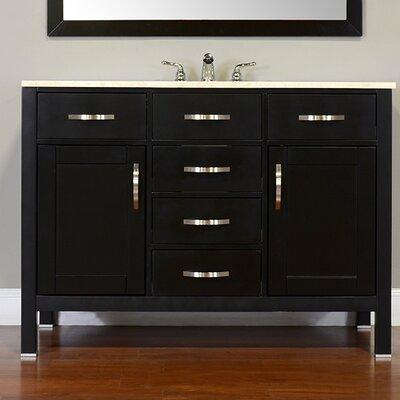 Hudson 48 Single Contemporary Bathroom Vanity Set Top Finish: Carrera White, Base Finish: Gray
