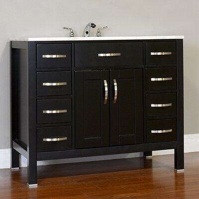 Hudson 42 Single Contemporary Bathroom Vanity Set Top Finish: Carrera White, Base Finish: Black
