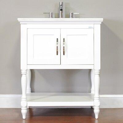 Hampton 30 Single Contemporary Bathroom Vanity Set Base Finish: White