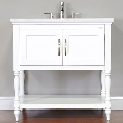 Hampton 36 Single Contemporary Bathroom Vanity Set Base Finish: White