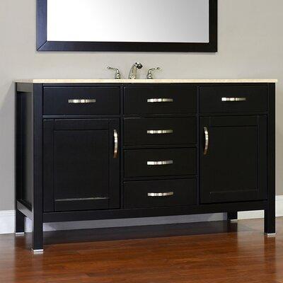 Hudson 56 Single Contemporary Bathroom Vanity Set Base Finish: White, Top Finish: Carrera White