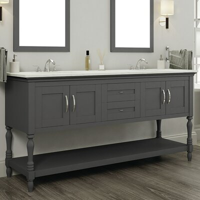 Hampton 60 Double Contemporary Bathroom Vanity Set Base Finish: Gray