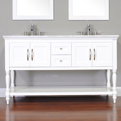 Hampton 60 Double Contemporary Bathroom Vanity Set Base Finish: White