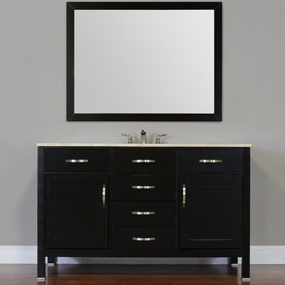 Hudson 56 Single Contemporary Bathroom Vanity Set Top Finish: Carrera White, Base Finish: Gray