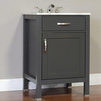 Hudson 24 Single Contemporary Bathroom Vanity Set Base Finish: Gray