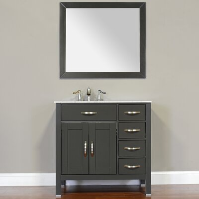 Hudson 36 Single Contemporary Bathroom Vanity Set Top Finish: Carrera White, Base Finish: Gray