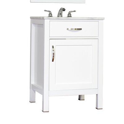 Hudson 24 Single Contemporary Bathroom Vanity Set Base Finish: White