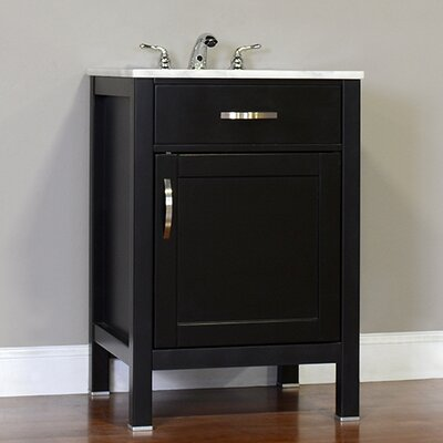 Hudson 24 Single Contemporary Bathroom Vanity Set Base Finish: Black