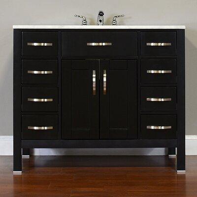 Hudson 42 Single Contemporary Bathroom Vanity Set Base Finish: Black