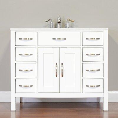 Hudson 42 Single Contemporary Bathroom Vanity Set Base Finish: White