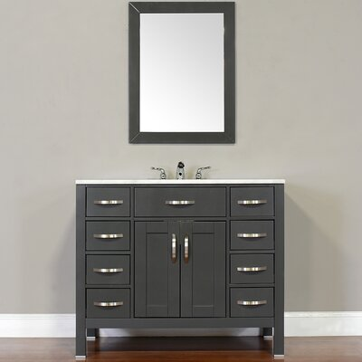 Hudson 42 Single Contemporary Bathroom Vanity Set Top Finish: Beige, Base Finish: Gray