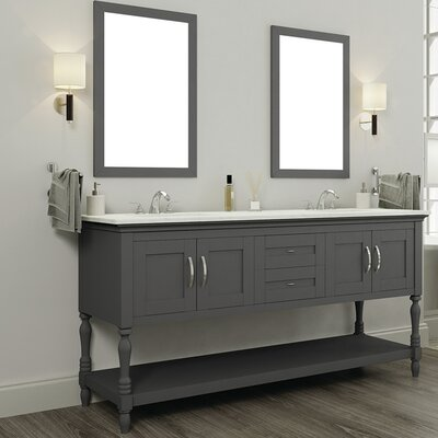 Hampton 60 Double Contemporary Bathroom Vanity Set with Mirror Top Finish: Beige, Base Finish: Gray