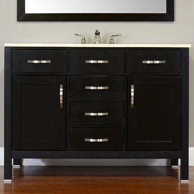 Hudson 48 Single Contemporary Bathroom Vanity Set Base Finish: Black