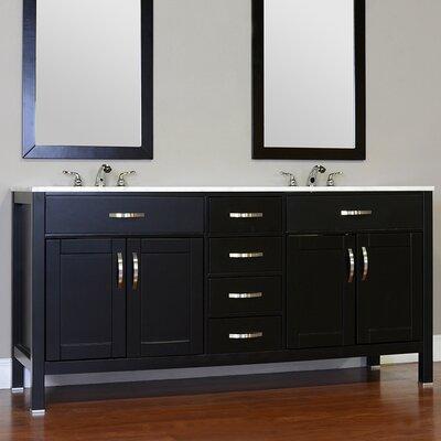 Hudson 72 Double Contemporary Bathroom Vanity Set Base Finish: Black