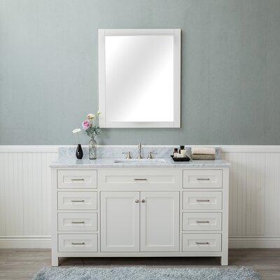 Costin 60 Single Bathroom Vanity Set with Mirror Base Finish: White