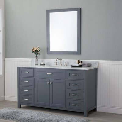 Costin 60 Single Bathroom Vanity Set with Mirror Base Finish: Gray