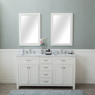 Costin 60 Double Bathroom Vanity Set with Mirror Base Finish: White