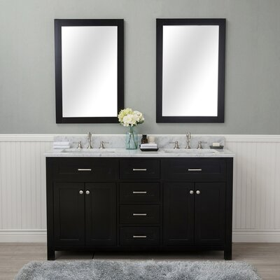 Costin 60 Double Bathroom Vanity Set with Mirror Base Finish: Espresso