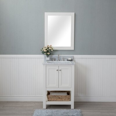 Shae 24 Single Bathroom Vanity Set with Mirror Base Finish: Linen White