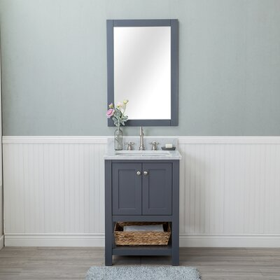 Shae 24 Single Bathroom Vanity Set with Mirror Base Finish: Gray