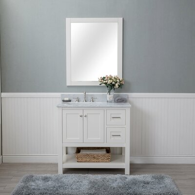 Shae 36 Single Bathroom Vanity Set with Mirror Base Finish: Linen White