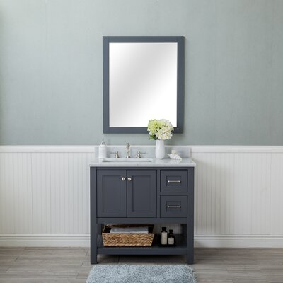 Shae 36 Single Bathroom Vanity Set with Mirror Base Finish: Gray
