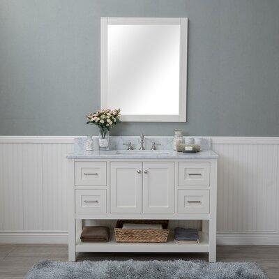 Shae 48 Single Bathroom Vanity Set with Mirror Base Finish: Linen White