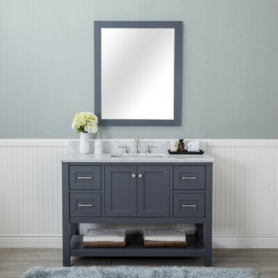 Shae 48 Single Bathroom Vanity Set with Mirror Base Finish: Gray
