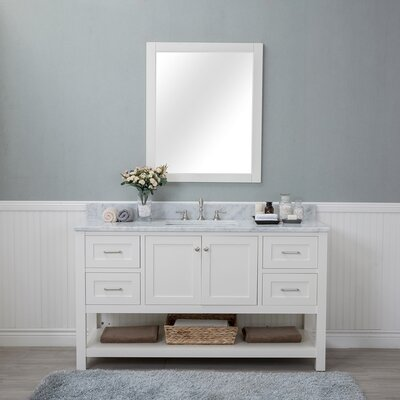Shae 60 Single Bathroom Vanity Set with Mirror Base Finish: Linen White