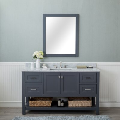 Shae 60 Single Bathroom Vanity Set with Mirror Base Finish: Gray