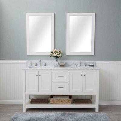 Shae 60 Double Bathroom Vanity Set with Mirror Base Finish: Linen White