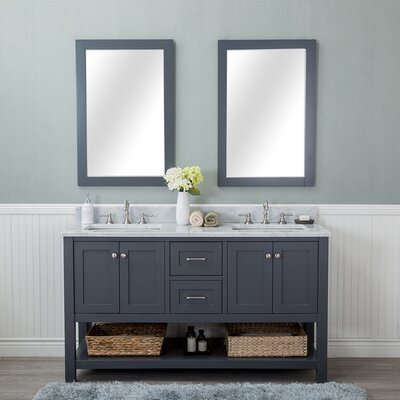 Shae 60 Double Bathroom Vanity Set with Mirror Base Finish: Gray