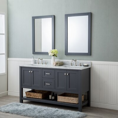 Whiting 60 Double Bathroom Vanity Set Finish: Gray