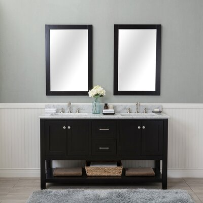 Shae 60 Double Bathroom Vanity Set with Mirror Base Finish: Espresso