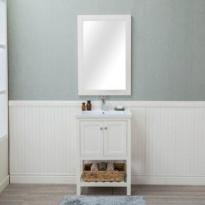 Amandari 24 Single Bathroom Vanity Set with Mirror Base Finish: Linen White