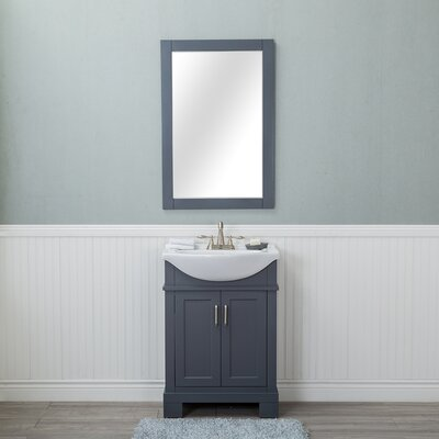 Amansara 24 Single Bathroom Vanity Set with Mirror Base Finish: Gray