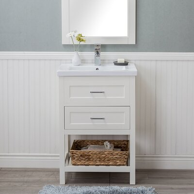 Hagins 24 Single Wood Bathroom Vanity set Finish: White