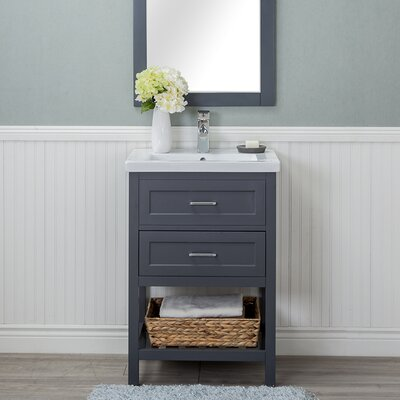 Hagins 24 Single Wood Bathroom Vanity set Finish: Gray