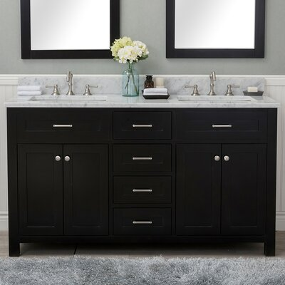 Cecilton 60 Double Bathroom Vanity Set Finish: Espresso