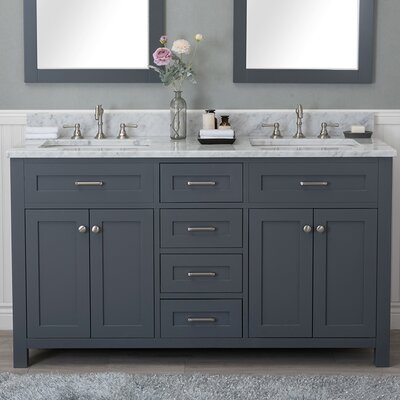 Cecilton 60 Double Bathroom Vanity Set Finish: Gray