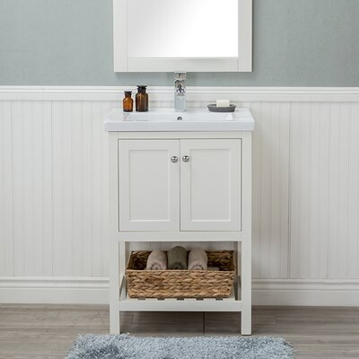 Hagins 24 Single Bathroom Vanity Set Finish: White