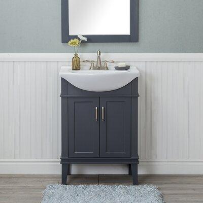 Guzman 24 Single Wood Base Bathroom Vanity Set Finish: Gray