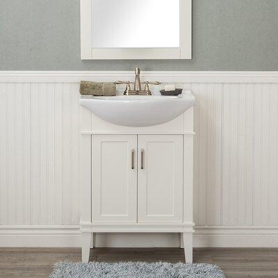Guzman 24 Single Wood Base Bathroom Vanity Set Finish: White