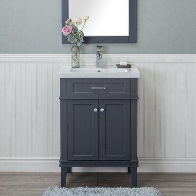 Guzman 24 Single Plywood Bathroom Vanity Set with Ceramic Top Finish: Gray